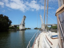 Passing through Haulover Canal bridge